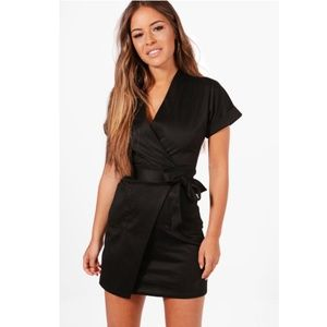 Boohoo | Black Obie Tie Wrap Dress Sz 6